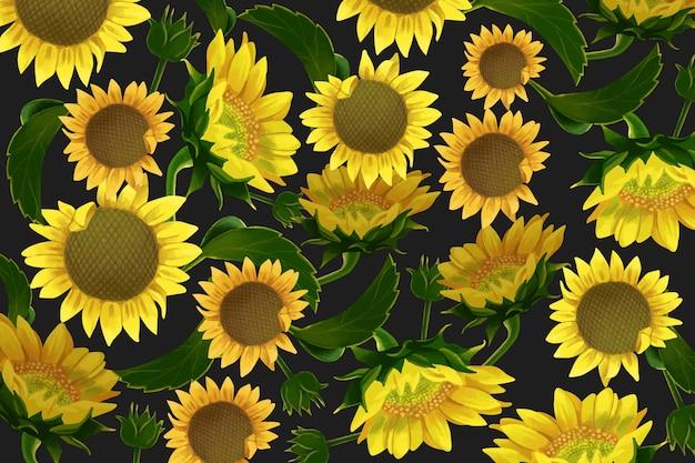 Fondo de flores de sol realista Vector Premium