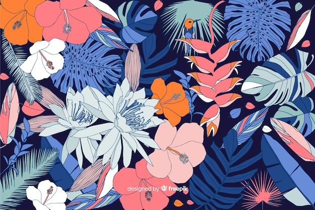 Fondo de flores tropicales en 2d estilo vector gratuito