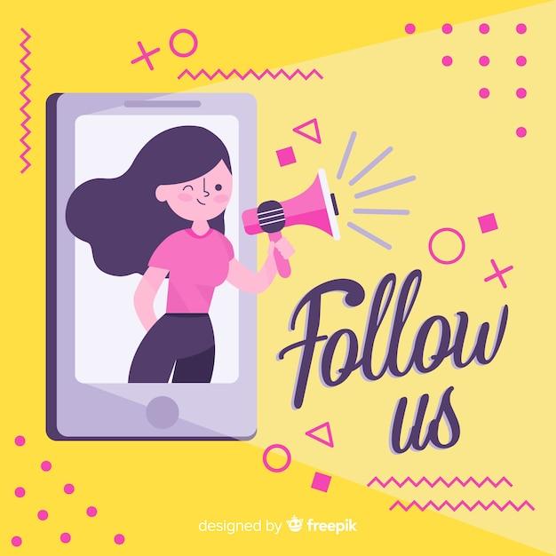 Fondo de follow us vector gratuito