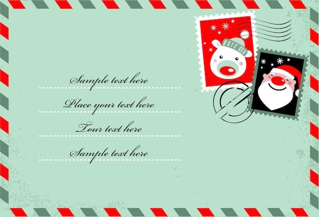 Fondo en forma de carta con lindos sellos navideños. iconos de santa y oso polar Vector Premium