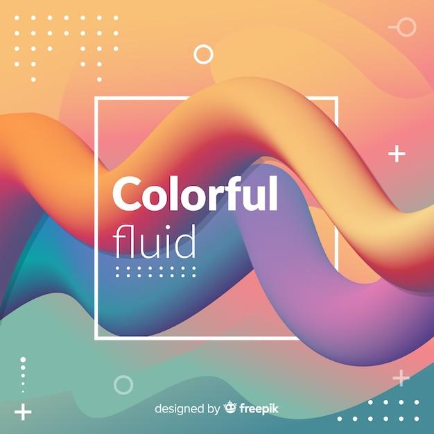 Fondo de formas fluidas coloridas en 3d vector gratuito