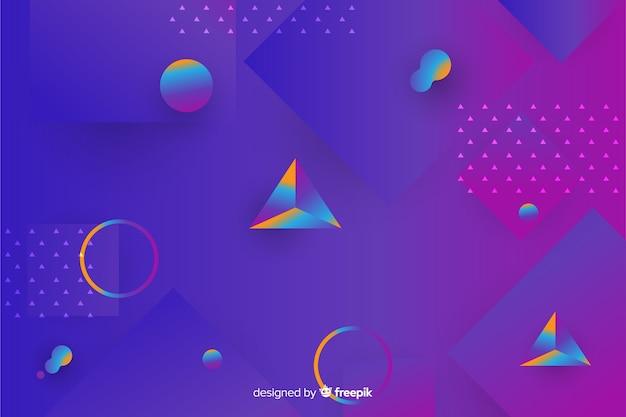 Fondo de formas geométricas en 3d con degradado vector gratuito