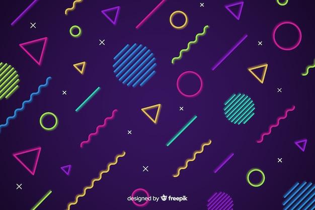 Fondo de formas geométricas de neón vector gratuito
