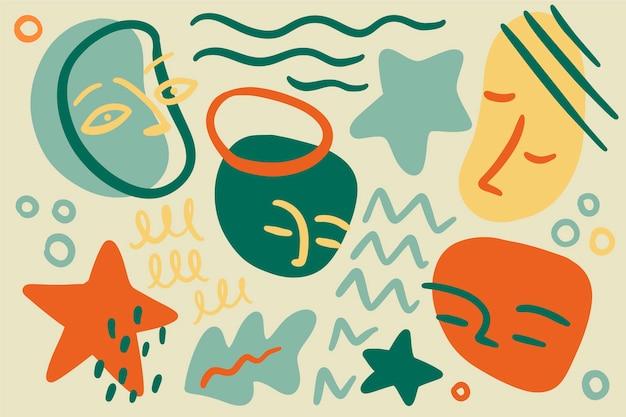 Fondo de formas orgánicas abstractas dibujadas a mano vector gratuito