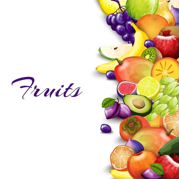 Fondo de frontera de frutas vector gratuito