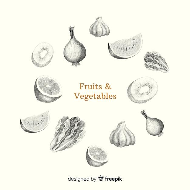 Fondo fruta y verdura sin color dibujada a mano vector gratuito