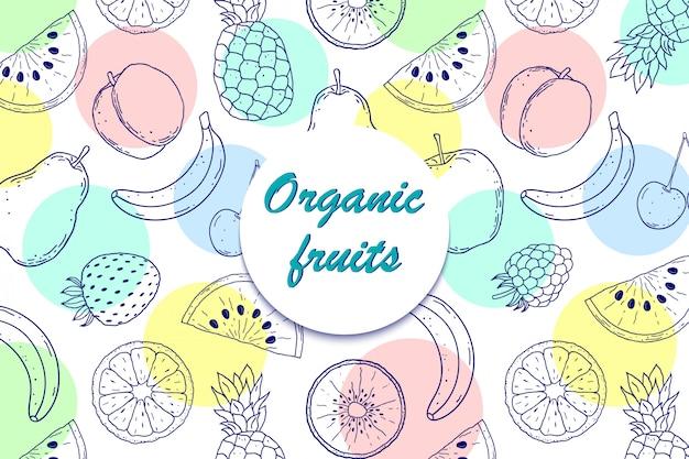 Fondo con frutas orgánicas Vector Premium