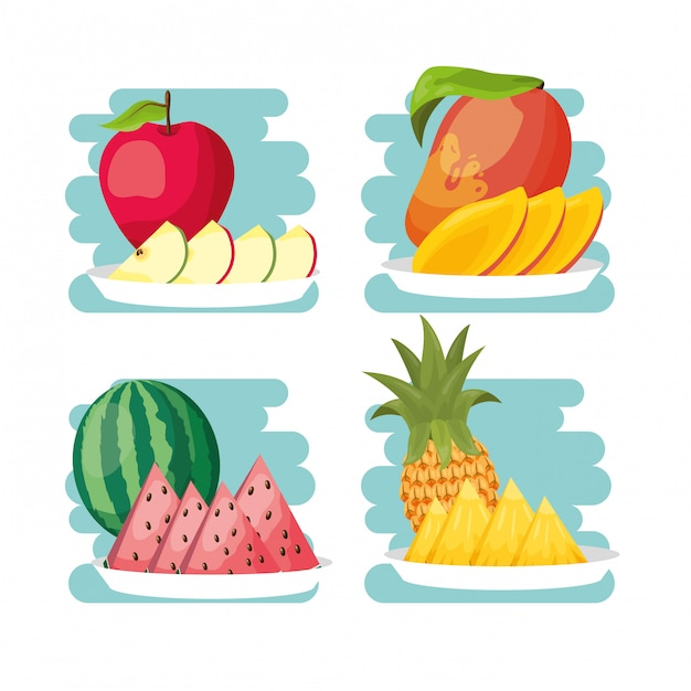 Fondo de frutas tropicales vector gratuito