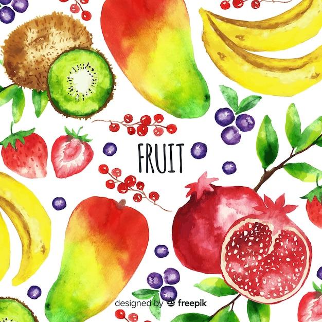 Fondo de frutas y verduras en acuarela vector gratuito