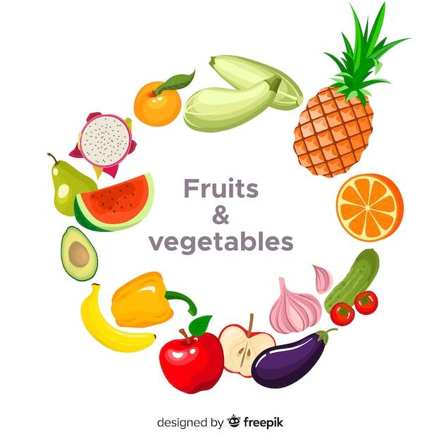 Fondo de frutas y verduras en diseño plano vector gratuito