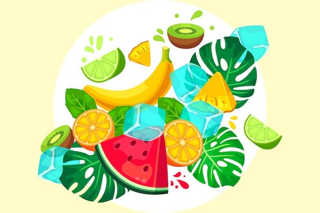 Fondo de frutas y verduras con hojas vector gratuito