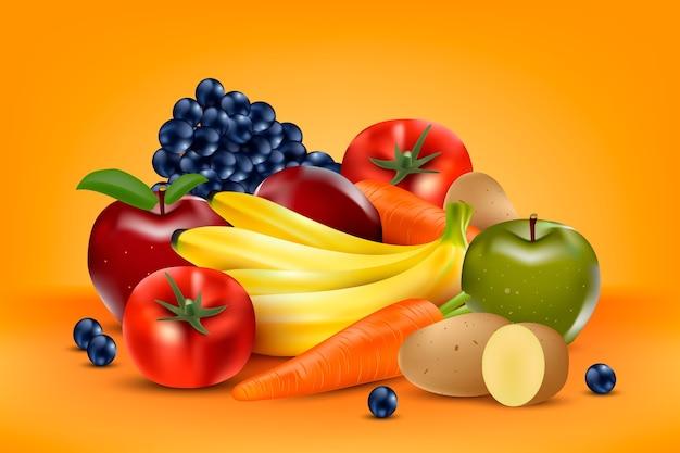 Fondo de frutas y verduras Vector Premium