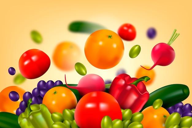 Fondo de frutas y verduras vector gratuito