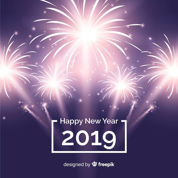 Fondo De Fuegos Artificiales De Ano Nuevo 2019 Descargar Vectores