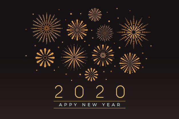 Fondo de fuegos artificiales año nuevo 2020 vector gratuito