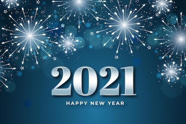 Fondo de fuegos artificiales año nuevo 2021 vector gratuito