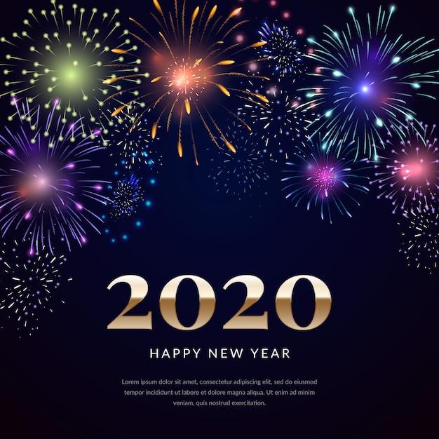 Fondo de fuegos artificiales de año nuevo vector gratuito