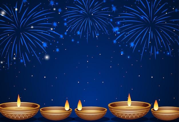 Fondo con fuegos artificiales y velas vector gratuito