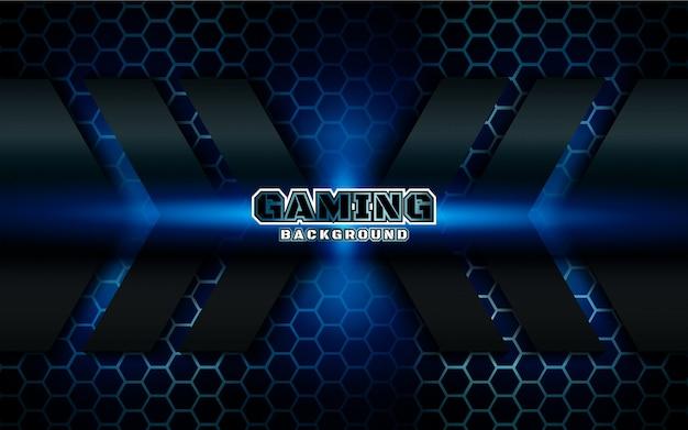 Fondo futurista abstracto de juego negro y azul Vector Premium