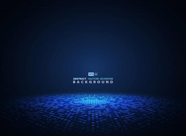 Fondo futurista del círculo de semitono azul abstracto. Vector Premium