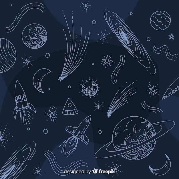 Fondo de galaxia adorable dibujado a mano vector gratuito
