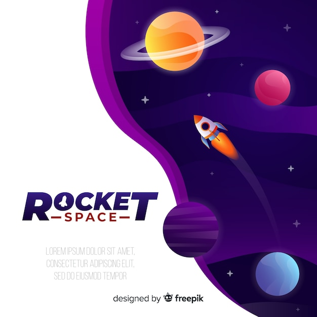 Fondo galaxia degradada con un cohete vector gratuito