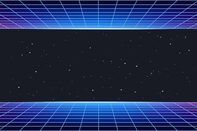 Fondo de galaxia futurista con rejilla láser de neón Vector Premium