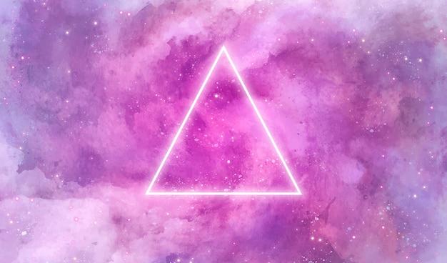 Fondo de galaxia con triángulo de neón vector gratuito