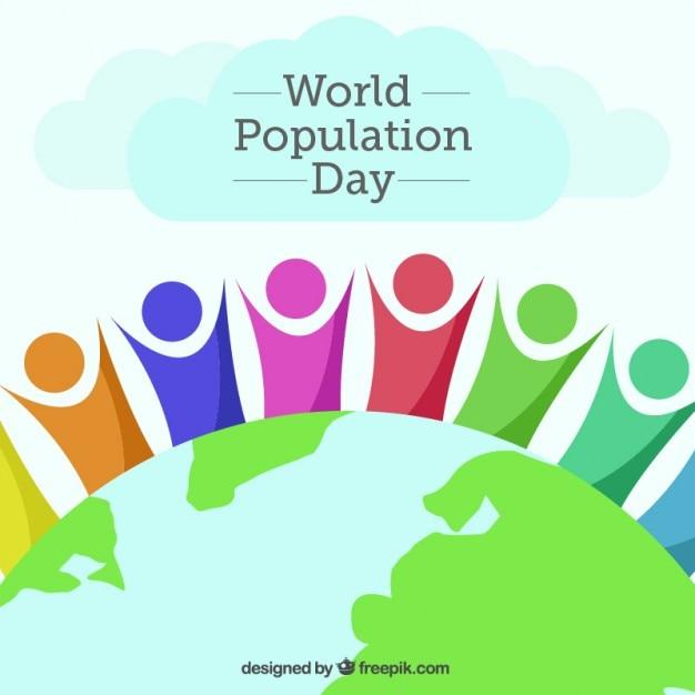 Fondo de gente abstracta con el mundo del día de la población vector gratuito