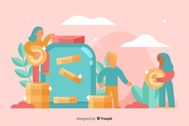 Fondo gente ahorrando dinero vector gratuito