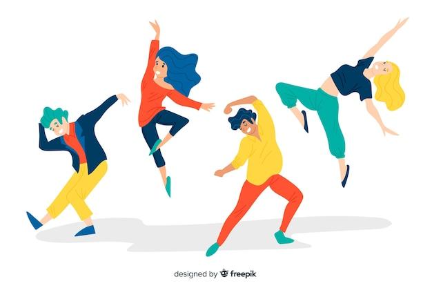 Fondo gente bailando dibujada a mano vector gratuito