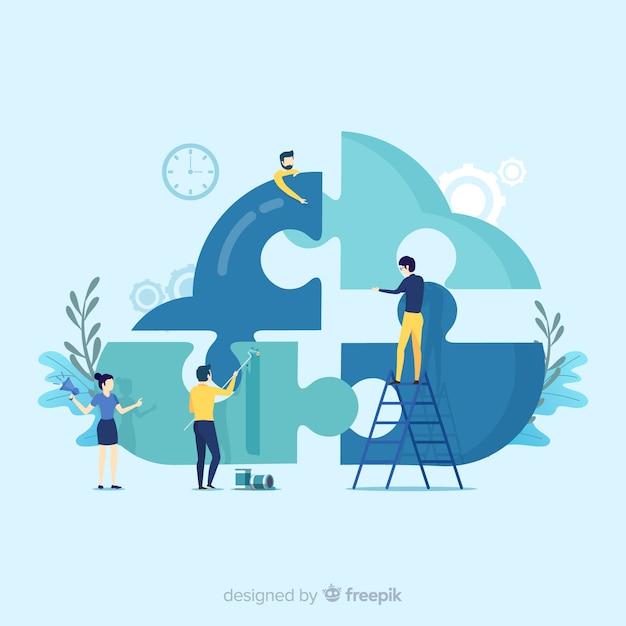 Fondo gente conectando piezas de puzzle vector gratuito