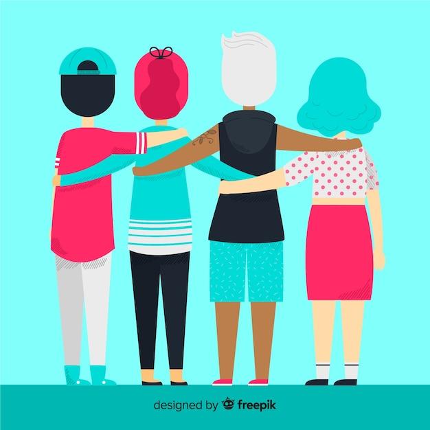 Fondo de gente joven abrazándose junta vector gratuito