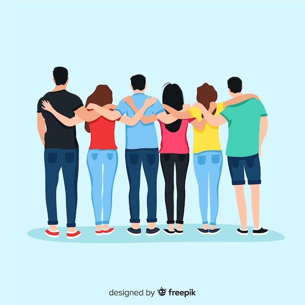 Fondo gente joven abrazándose vector gratuito