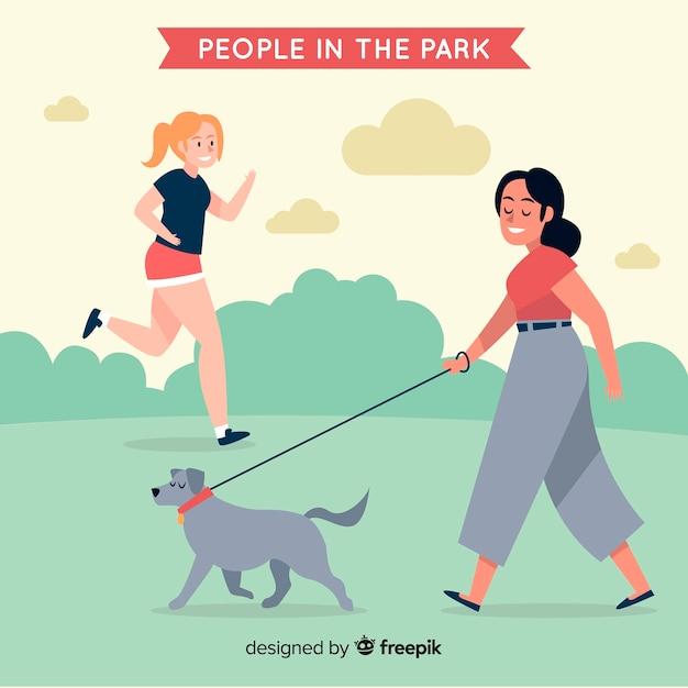Fondo gente en el parque dibujada a mano vector gratuito