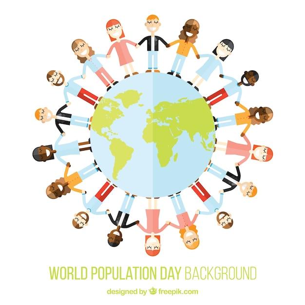 Fondo de gente unida alrededor del mundo vector gratuito