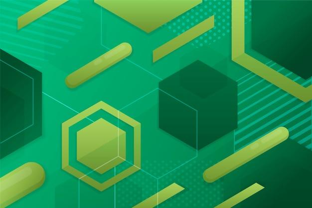 Fondo geométrico de formas verdes vector gratuito