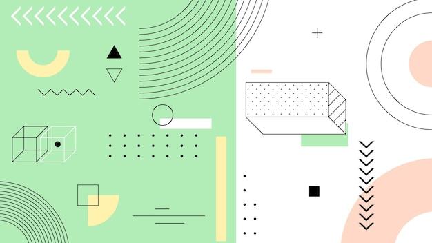 Fondo geométrico con líneas y formas vector gratuito