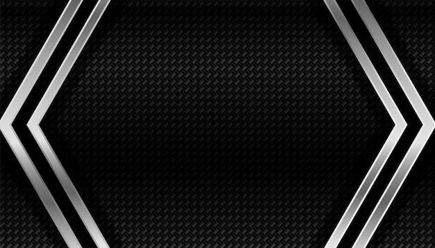 Fondo geométrico oscuro de fibra de carbono y metal vector gratuito