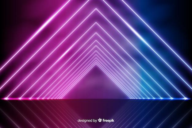 Fondo geométrico radiante de luces de neón vector gratuito