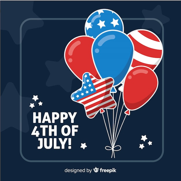 Fondo con globos del 4 de julio - día de la independencia vector gratuito