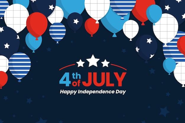 Fondo de globos del día de la independencia vector gratuito