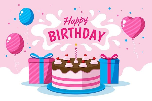Fondo de globos de feliz cumpleaños Vector Premium