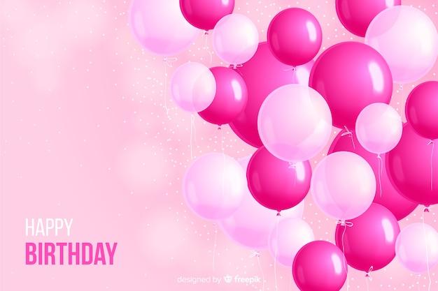 Fondo de globos realistas de fiesta de cumpleaños vector gratuito