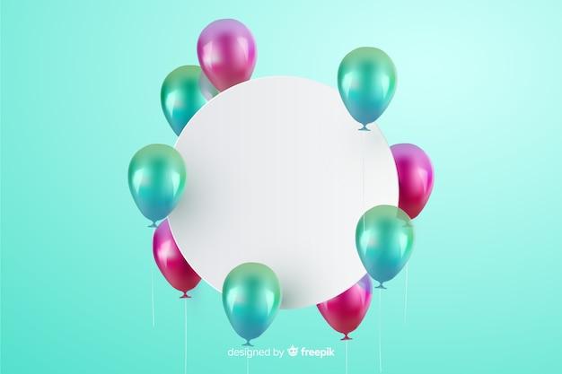 Fondo de globos tridimensionales y brillantes con banner vacío vector gratuito