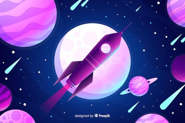 Fondo gradiente de cohete vector gratuito
