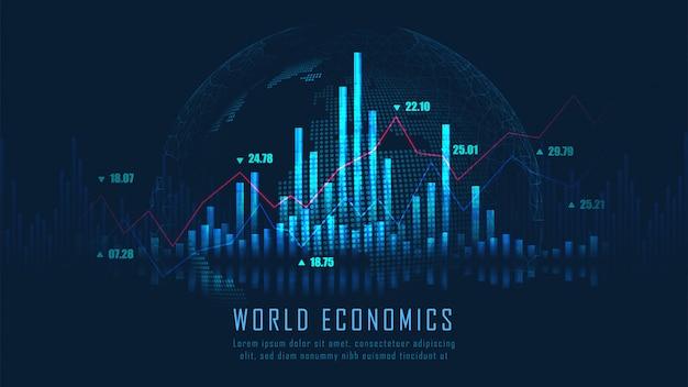 Fondo de gráfico de bolsa o forex Vector Premium
