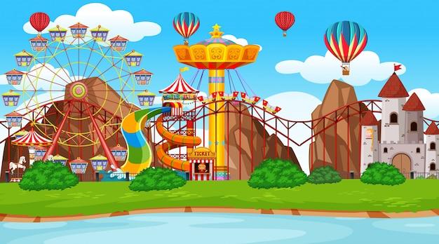 Fondo grande de la escena del parque de atracciones vector gratuito