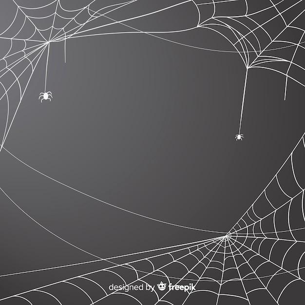 Fondo gris telaraña de halloween vector gratuito