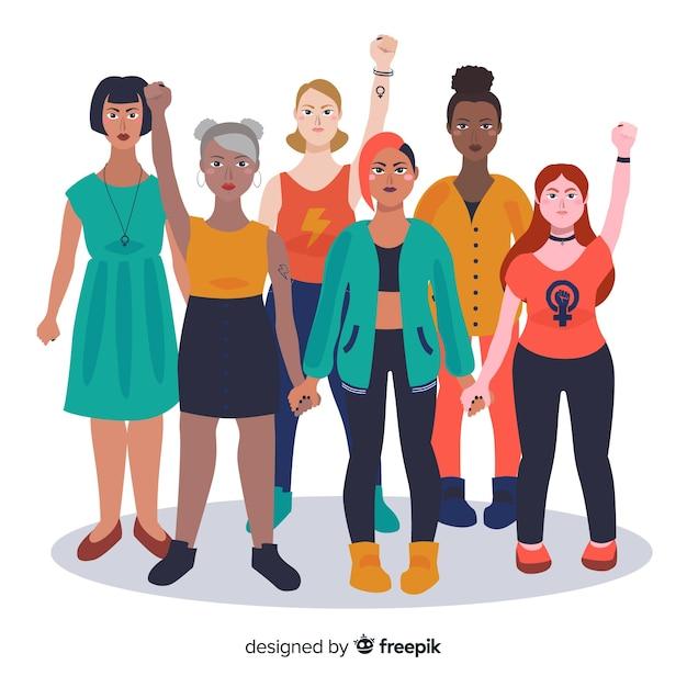 Fondo grupo de mujeres interracial vector gratuito
